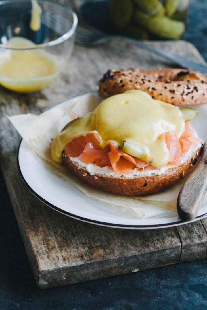 Sandwich with salmon, egg and hollandaise sauce