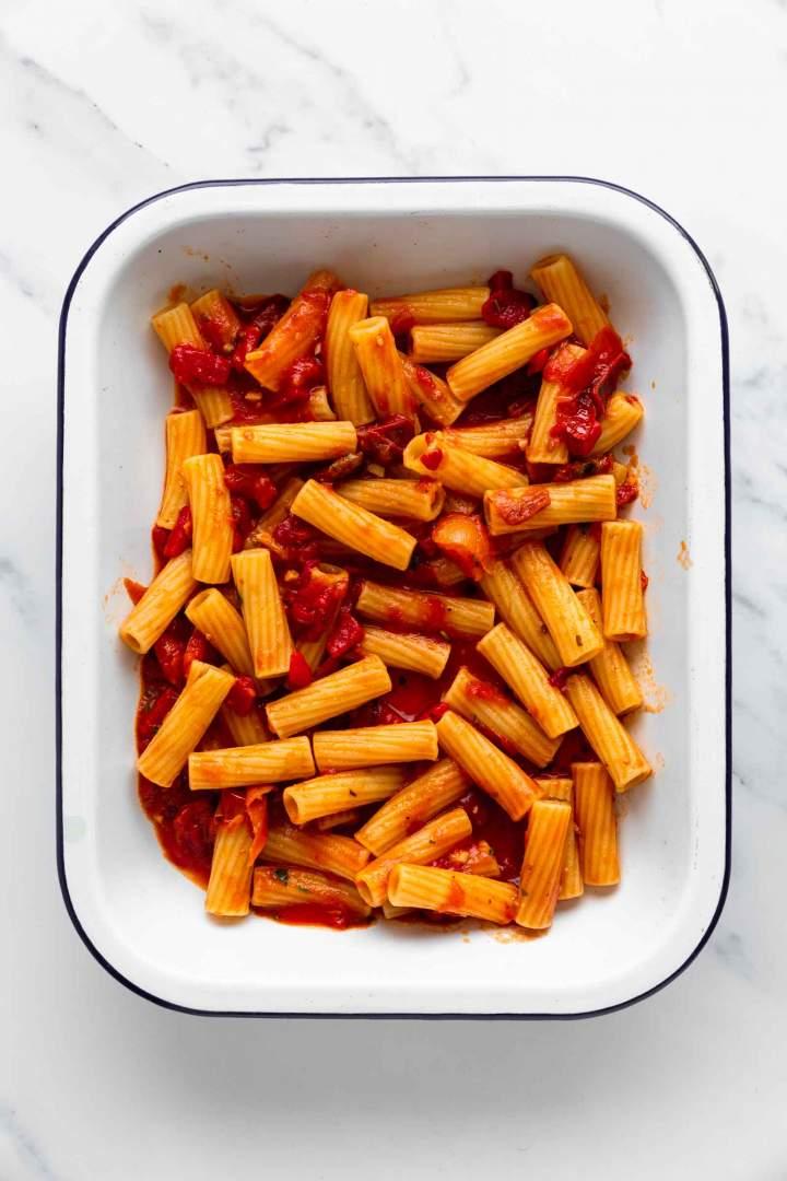 Tomato pasta before baking