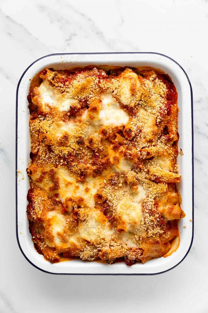 Spinach and Ricotta Pasta Bake straight from the oven