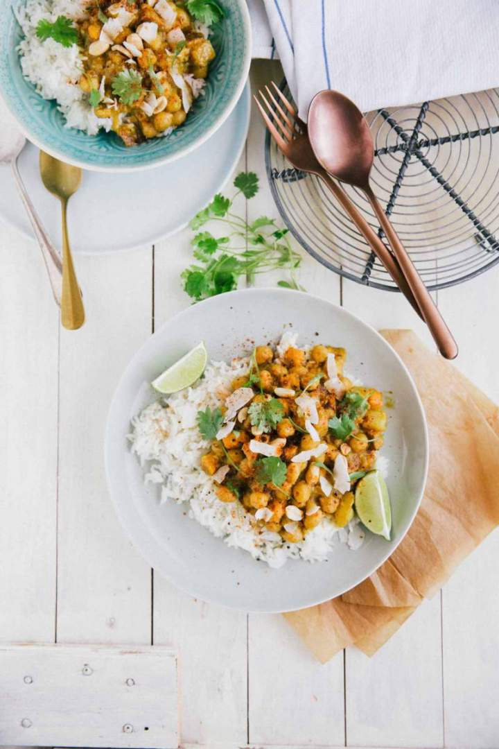 Sweet Potato and Chickpeas Curry served with Rice and Coconut