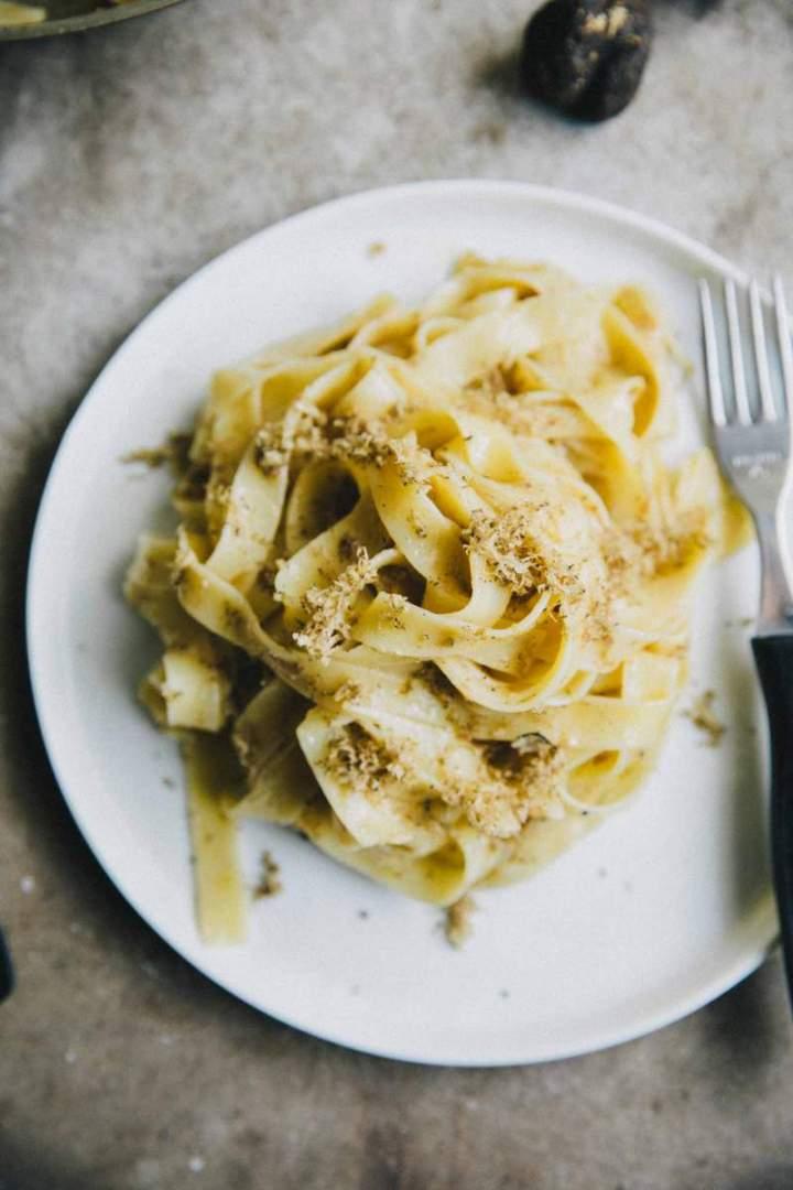 Tagliatelle Pasta with Black Truffle Sauce