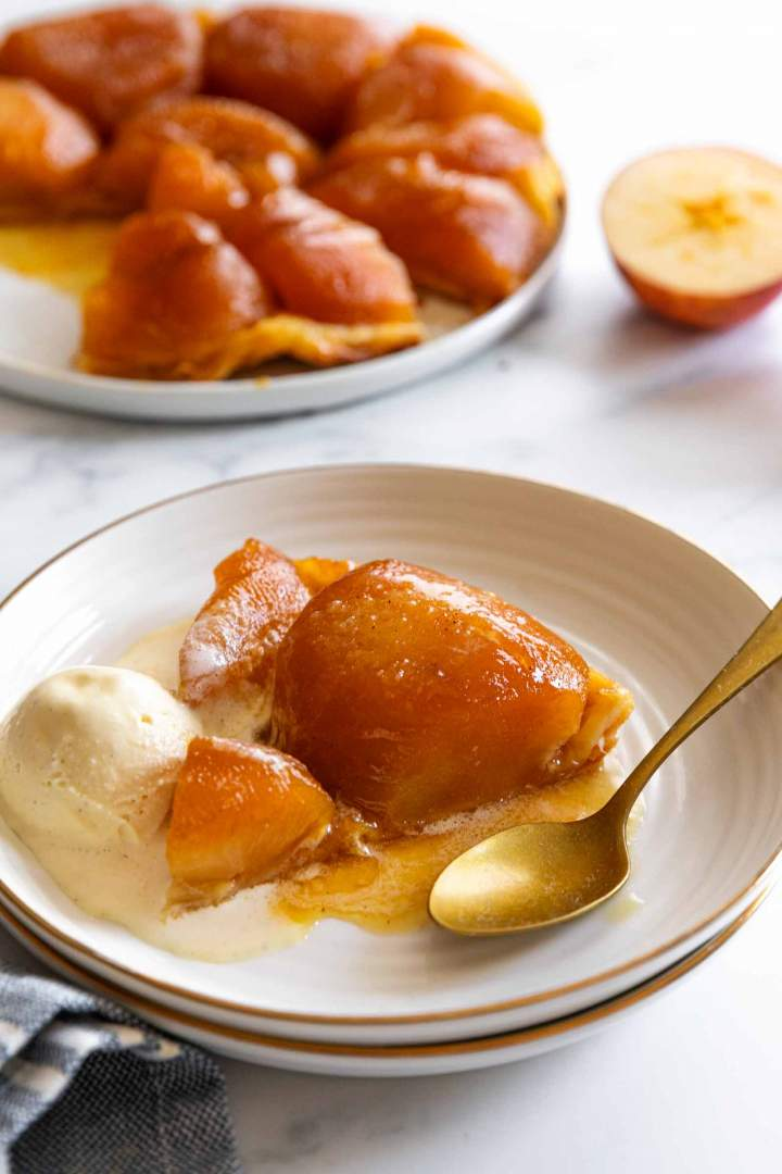 Spiced Apple Tarte Tatin with vanilla ice cream