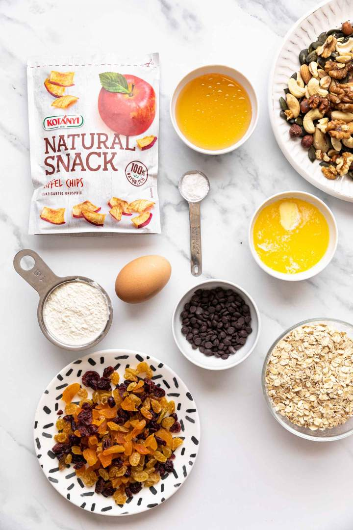 Ingredients for Healthy Trail Mix Cookies