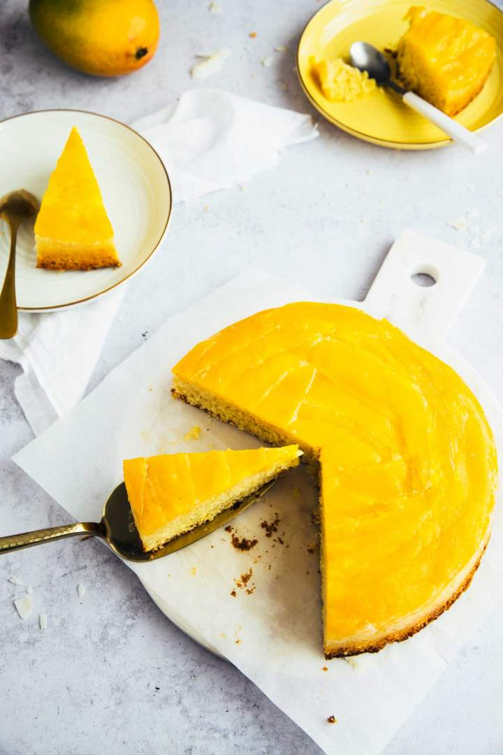 Upside down mango cake with coconut