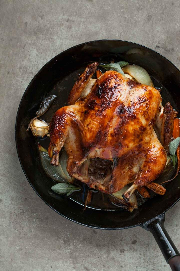 Whole roasted chicken with black chai glaze