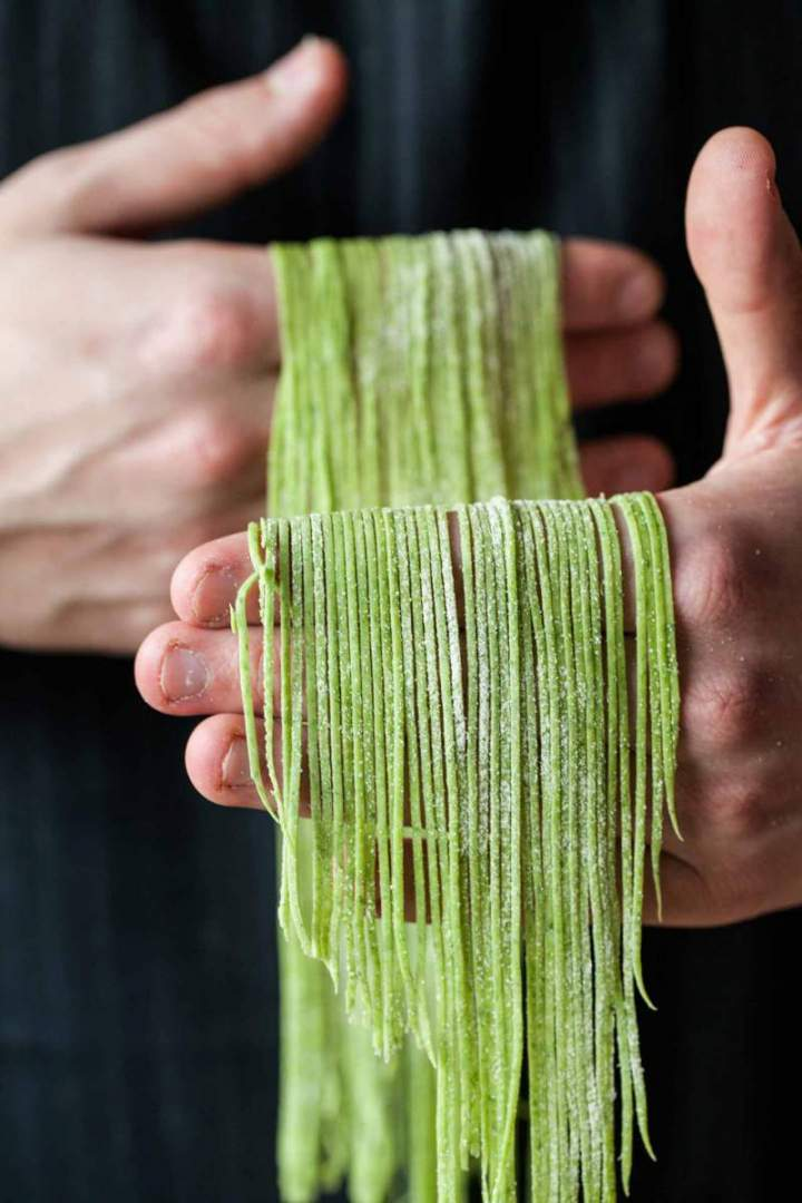 Wild garlic pasta sliced