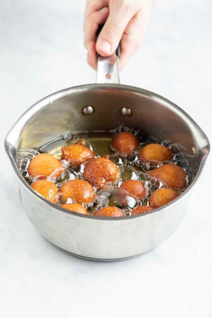 Yogurt sweet fritters - frying