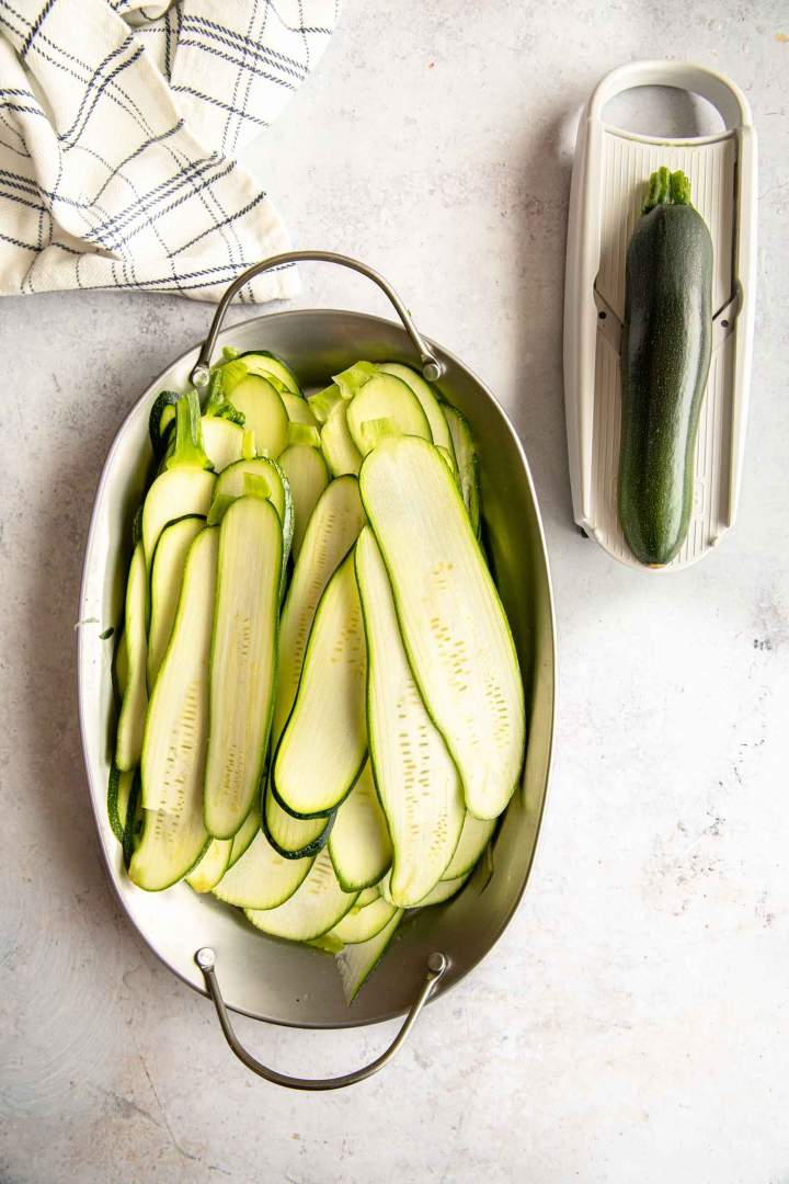 Sliced zucchini for lasagna