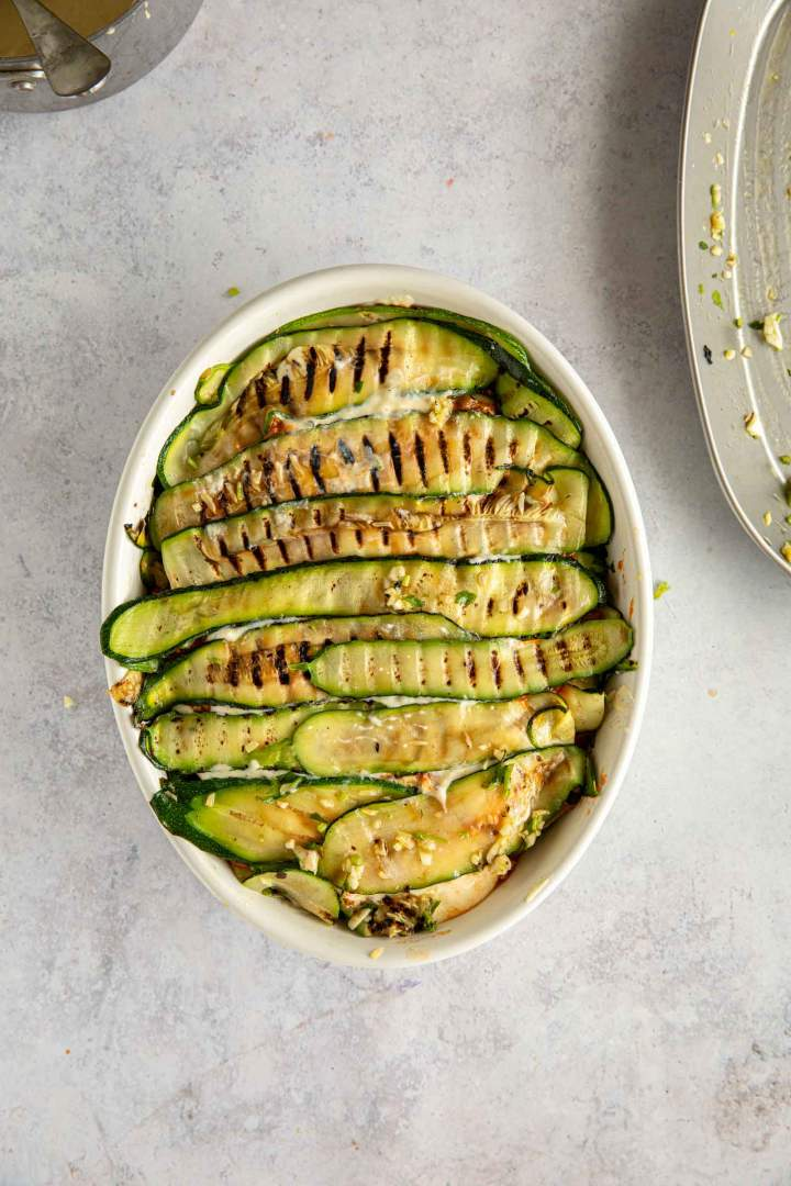 Assembling zucchini lasagna